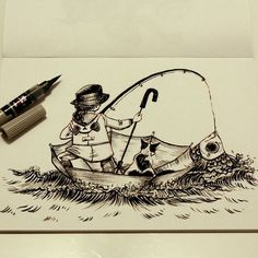 Jour 7: Je sais de moins en moins... Day 7: I don't know ... #doodles #drawing #dessin #sketch #illustration #pentel #ink #inktober #inktober2go #frenchinktober #cat #umbrella #goldfish #fishing #girl