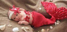 newborn sereia de crochê - cores - props fotografia de bebês