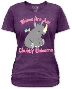 rhinos are just chubby unicorns | Shirt - Men's and Women's T-Shirts » Archive for Nature and Animals ...