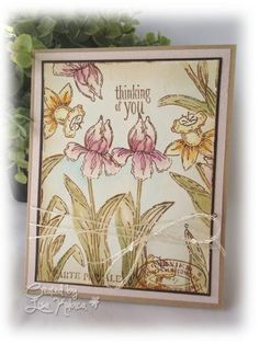 Bulbs in Bloom Card - made with Close to My Heart (CTMH) Bulbs in Bloom stamp set, watercolor paint, and distress inks.