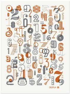 The Numbers 2 Poster is a limited edition poster featuring a collection of creative number designs created in collaboration with designer, Michael Spitz. Each poster is an metallic screenprint in a limited edition run of Typography Letters, Typography Poster, Graphic Design Typography, Graphic Design Illustration, Hand Lettering, Number Typography, Chinese Typography, Creative Typography, Poster Sport