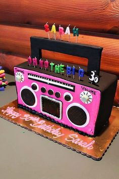dance party- boom box cake someone PLEASE make me this for my birthday! :) (with glitter on or around it) 80s Birthday Parties, Dance Party Birthday, 30th Birthday, Birthday Party Themes, 90s Party Themes, Birthday Cake, Birthday Ideas, 90 Party, 80s Party Foods