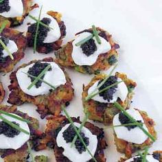 Sweet-Potato Pancakes with Caviar You can form the sweet-potato pancakes up to six hours ahead, leaving only a quick frying before serving. Caviar Recipes, Sweet Potato Pancakes, Potato Latkes, In Loco, Cooking Sweet Potatoes, Twice Baked Potatoes, Seafood Recipes, Trout Recipes, Thanksgiving Recipes