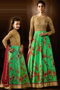 53a6b1716c similar outfits for mom and daugter DESIGNER FLORAL EMBROIDERED ANARKALI GOWN  MATCHING DRESSES FOR MOTHER DAUGHTER