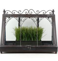 "18"" Vintage Metal & Glass Tabletop Terrarium $39.99"