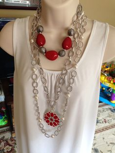 Heat Wave, Linked In and Compliment necklaces with Flipside enhancer