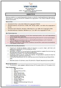 Sample Resume Accounting No Work Experience   http   www     chartered accountant cv example