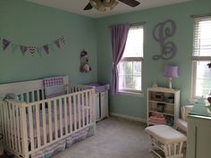 mint green and purple nursery - Google Search