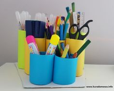 Organizer na biurko z rolek DIY Office Supplies, Organization, Diy, Getting Organized, Organisation, Bricolage, Do It Yourself, Diys
