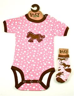 Click to buy this adorable infant creeper onsie with matching socks. Available in pink polka-dot and blue stripe for girls and boys, in sizes 6 months and 12 months. Also available is a T-shirt dress for toddler girls with a similar horse applique. These pony creeper and socks sets are a great gift idea and are only $18.85 at 10% off.  www.giftworksgourmet.com