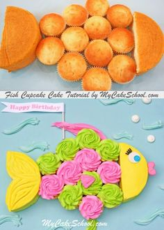 cupcake cakes CUTE Fish Cupcake Cake Tutorial by ! Perfect for kids' pool or beach themed parties! This pull apart cupcake cake design would be perfect for beach parties, luau themes and pool parties! So simple to create! Pull Apart Cupcake Cake, Pull Apart Cake, Cupcake Cakes, Kid Cakes, Cupcake Ideas, Cakes For Kids, Cupcake Cake Designs, Rose Cupcake, Cupcake Party