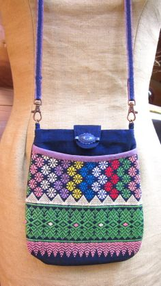 Handmade purse from vintage woven and embroidered fabric.
