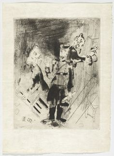 Marc Chagall. Apparition of Police (Apparition des policiers), plate XXV (supplementary suite) from Les Âmes mortes. 1923-48