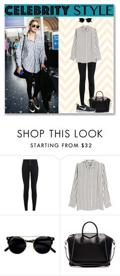 """Gigi Hadid: Celebrity Airport Style"" by helloyoulala-1 ❤ liked on Polyvore featuring New Look, Brunello Cucinelli, Givenchy and NIKE"