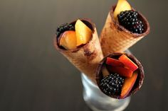 Chocolate painted sugar cones with summer fruit - You and the kiddies will never know it's healthy! So simple!