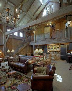 Rustic barndominium living room