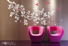Free Shipping Etsy - Spring Branch Tree with birds- Vinyl decal Wall Sticker Wall Decals Tree Decal -039