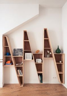Modern & Contemporary Furniture Store in San Diego. Hold It Home. Zig Zag Shelf, Wood Furniture, Furniture Design, Bookshelf Storage, Bookshelf Ideas, Shelving Units, Book Shelves, Creative Bookshelves, Interior Architecture
