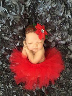 Poinsettia tutu & headband  newborn set  ready to by mimislullaby