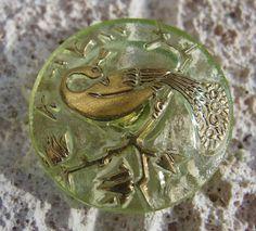 Green Czech Glass Peacock Button Gold by lookingglassbuttons, $4.70