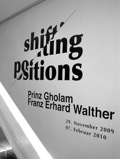 The design is heavily typographic, black/white, clean and simple. On the other hand, it clearly indicates the idea of 'shifting positions' by just lifting the left part of the letters upwards a little bit.