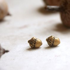 Acorn Earrings Tiny Gold Studs Small Acorn Post by GwydionsGarden
