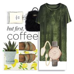 """""""Coffee Breaks"""" by charisse-bellen on Polyvore featuring Kate Spade, Chanel, Birkenstock, River Island, Chive, Kendra Scott and FOSSIL"""
