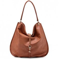 Women's Brown Vegan Leather Vegan Hobo With Braided Detail | Bie by Sole Society