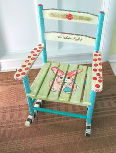 Painted Child Rocking Chair Hand Painted