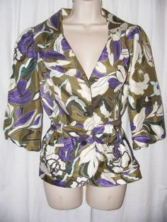 Victor Costa Green Purple Floral Belted Jacket 4 in Clothing, Shoes & Accessories | eBay