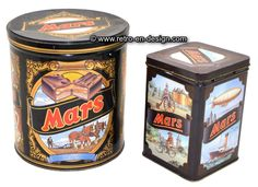 Set of two vintage tins by Mars with historical and nostalgic images Nice set of two vintage tins by the famous Mars chocolate bar.    Large black cylindric tin with nostalgic images of horses plowing the land. Also a boy and girl plus a man and woman in thirties clothing.   http://www.mijnwebwinkel.nl/winkel/kenko/en_GB/a-46720323/tins/set-of-two-vintage-tins-by-mars-with-historical-and-nostalgic-images/