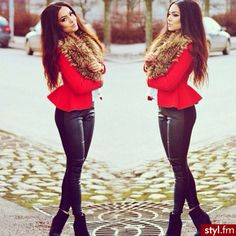 Red peplum with fur, leather pants, boots