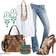 "Designer calls this ""Summer Boho."" I love those wooden beaded bracelets and, of course, that Michael Kors bag is knocking on my door:)"