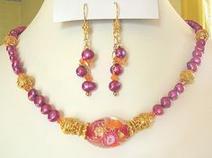 Artist Lampwork Magenta FW Pearls Gold Vermeil Necklace Earrings. PINK GOLD ORANGE... All part of Pantone's Color Group for 2012 Spring & Summer!
