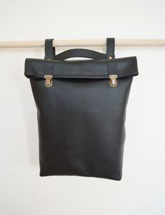 """15"""" Leather Backpack / Leather Rucksack / Messenger / Laptop bag/ Tote/ Women/ Black backpack / Minimalist/ Macbook bag/ Office bag/ Laptop"""