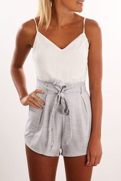 After Hours Playsuit Grey White