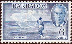 Barbados 1950 SG 275 Fishing Casting Net Fine Mint SG 275 Scott 220 Condition Fine LMM Only one post charge applied on multipule purchases Details N