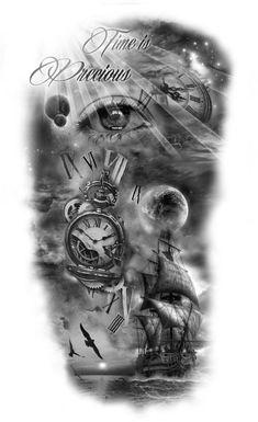 50 Trendy Eye Tattoo Back Awesome Half Sleeve Tattoos Designs, Best Sleeve Tattoos, Tattoo Designs Men, Clock Tattoo Design, Tattoo Design Drawings, Mädchen Tattoo, Back Tattoo, Ship Tattoo Sleeves, Nautical Tattoo Sleeve