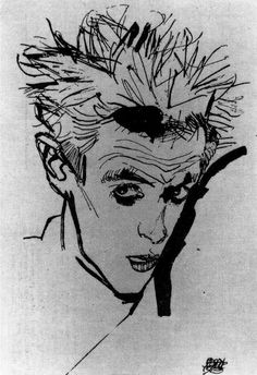 Egon Schiele Self Portrait ~ shown his work at age by an art teacher, who did well to find the school-safe pics. I loved the delicacy and strength, both. Gustav Klimt, Line Drawing, Painting & Drawing, Art Moderne, Art Graphique, Kandinsky, Pablo Picasso, Gouache, Printmaking