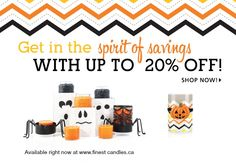This collection and more is available to all customers at 15% or 20% off.  Shop at www.finestcandles.ca and order yours now.  They are adorable!