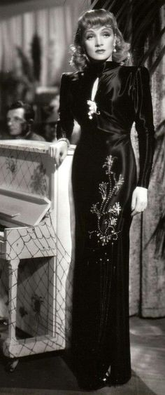 Marlene Dietrich 40s black satin beaded sequin gown......Uploaded By…