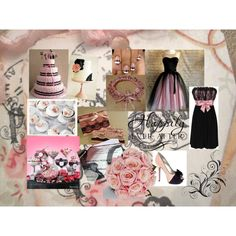 Baby Pink & Black Wedding Colours by bethan-amy-jones on Polyvore