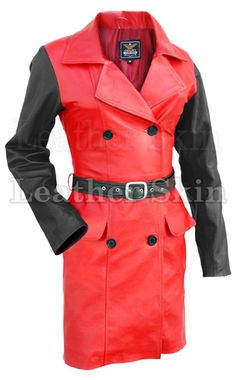 00ab06f4e29 Plus Size Leather Jacket - Long With Belt In Apple Red With Black Sleeves  L-3XL+++