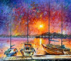 This is an oil painting on canvas by Leonid Afremov made using a palette knife only. You can view and purchase this painting here -afremov.com/SHIPS-OF-FREEDOM-P… Use 15% discount coup...