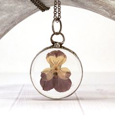 Wildflower necklace  terrarium pendant  pressed by JolieGlace