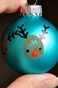 Little Bit Funky: 20 minute crafter-reindeer thumbprint ornaments