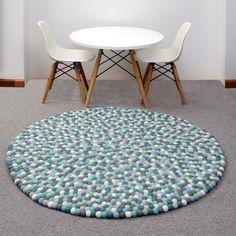 Aquamarine Archipelago Felt Ball Freckle Pom Nursery Rug Playmat 100cm Round By Sodaladesigns On