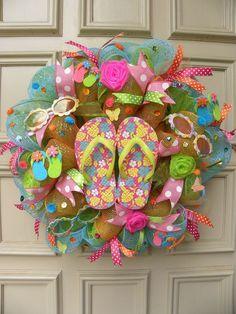 Whimsical and Fun Flip Flop Deco mesh Door Wreath - Home Decor - Patio Decor #DesignedbyJanfromBerdiesBloomers