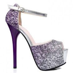 PEEP TOE BRILHANTE LILÁS - Peep toe em couro ecológico e detalhes em glitter. Salto de 4cm e meia pata de 4cm. Sapatos Importados. Tamanhos 33 ao 37 - Só R$ 299,00!!!