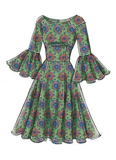 Vogue Patterns Sewing Pattern Misses' Princess Seam Dresses with Sleeve and Skirt Variations Dress Design Sketches, Fashion Design Drawings, Fashion Sketches, Fashion Drawing Dresses, African Fashion Dresses, Drawing Fashion, Vogue Dress Patterns, Dress Sewing Patterns, Kurta Designs Women
